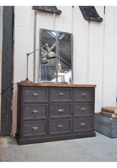 meuble console 9 grand casiers industriel clapet plateau chene massif consoles. Black Bedroom Furniture Sets. Home Design Ideas