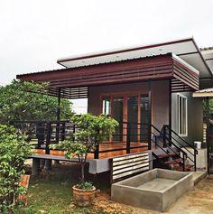 Asian House, Thai House, Bungalow House Design, Tiny House Design, Modern House Plans, Small House Plans, Bamboo House Bali, Small Modern Home, Simple House Design