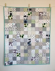 modern baby quilt cool color ispy by littlecolleydesign on Etsy