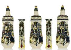 Rozenburg earthenware five-piece 'Pagoda' vase garniture designed by Theodoor Colenbrander, 1887  |  SOLD 26,650 EUR Amsterdam 2008