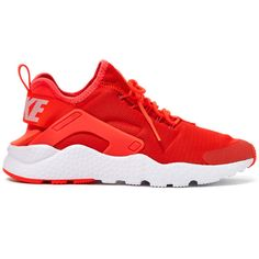 Nike Red Air Huarache Run Ultra Trainers ($130) ❤ liked on Polyvore featuring shoes, sneakers, lightweight shoes, red shoes, nike footwear, nike and lock shoes