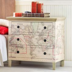 map dresser - how cool for the kids to circle where they have been!  diy... mod podge?