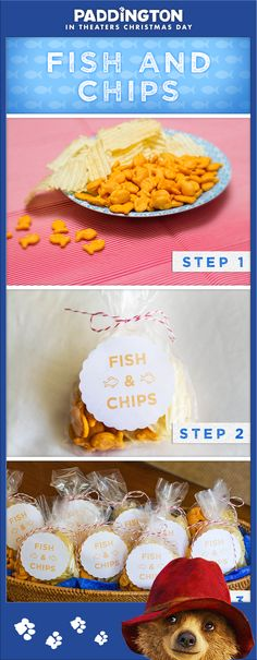 Take a tip from Paddington and give your kids a delicious twist on the flavors of London from their favorite bear. Make Paddington's favorite easy and fun after-school snack for your little ones: Fish and Chips! Click to print out this custom Paddington label, perfect for party favors or snacks on the go.