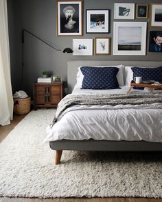 A bright shade of gray can enlighten your feeling whenever you enter your gray bedroom. While the dark tone of gray can make your sleeps peaceful. We have 30 gray bedroom ideas that . Read Elegant Gray Bedroom Ideas 2020 (For Calming Bedroom) Cozy Bedroom, Bedroom Inspo, Dream Bedroom, Home Decor Bedroom, Scandinavian Bedroom, Bedroom Furniture, Grey Wall Bedroom, Bedding Decor, Bedroom Modern