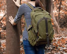 Olive Green Canvas Backpack with Genuine Leather by EverCanvas, $48.00