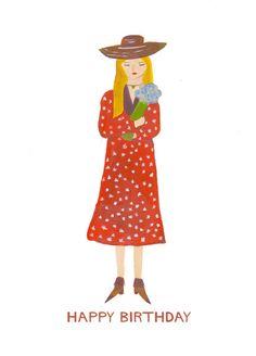 Happy Birthday Flower Girl Card Blonde Girl by HutchCassidy