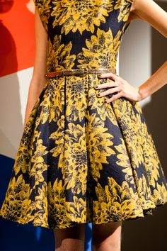A+O Flare box pleat dress in an amazing navy and gold print!