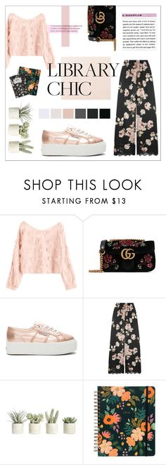 """""""THE LIBRARY CHIC"""" by taliafzl ❤ liked on Polyvore featuring Gucci, Superga, Rosamosario, Allstate Floral, Design Letters, WorkWear, floralprint, schooloutfit and librarychic"""