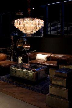 Michelin stars at Timothy Oulton instore dinner party Living Room Designs, Living Room Decor, Cigar Room, Dark Walls, Dark Interiors, Bar Lounge, Luxury Living, Home Decor Inspiration, Home Interior Design