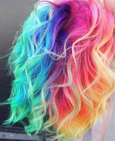 ▷ ideas for colorful hair. Colorful hair colors are always ▷ Ideen für bunte Haare. fairytale casual look – free-falling slightly wavy pastel hair, thin free-falling strands - Bright Hair Colors, Colorful Hair, Rainbow Hair Colors, Hair Colours, Pastel Rainbow Hair, Multicolored Hair, Neon Hair, Neon Rainbow, Coloured Hair