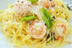 Spaghetti Squash with Shrimp and Asparagus