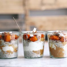 make-ahead brown rice porridge pots with roasted squash -plant based, vegan & gluten free overnight oats recipe with yogurt, nut butter, cinnamon almond