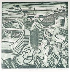 Worthing Fisherman - Woodcut by Sarah Young