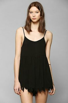 UNIF Frayed-Hem Babydoll Romper - Urban Outfitters