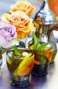 gin + mint tea + mint leaves + brown sugar + lemon + lime