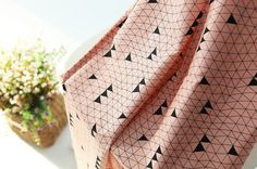 Triangles Cotton Fabric, Geometric Cotton Fabric - Indi Pink - By the Yard 90046