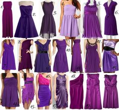 Samples of purple bridesmaid dresses :) Purple Bridesmaid Dresses, Wedding Bridesmaids, Wedding Attire, Purple Dress, Wedding Dresses, Bride Dresses, Prom Dresses, Purple Wedding, Dream Wedding