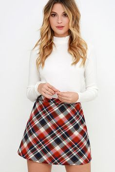 Mad for plaid? Our Sweet and Tartan Red Plaid Mini Skirt is as delectable as it gets! From a high banded waist, soft woven fabric in red, navy blue, cream, and yellow plaid descends into a slightly flaring, mini-length hem. Hidden back zipper.