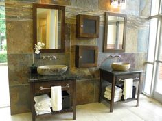 slate bathroom Earthy Bathroom, Slate Bathroom, Vanity, Home, Vanity Area, Lowboy, Dressing Tables, Ad Home, Homes