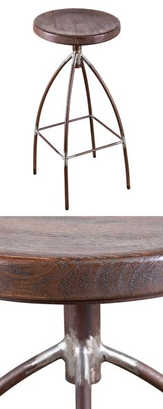 A gorgeous fusion of organic modern and industrial design, this Moonshine Stool offers a refreshing reimagining of a classic living space staple. Its round seat is handsomely crafted from burnt umber-s...  Find the Moonshine Stool, as seen in the Rustic Farmhouse Style Collection at http://dotandbo.com/collections/rustic-farmhouse-style?utm_source=pinterest&utm_medium=organic&db_sku=120564
