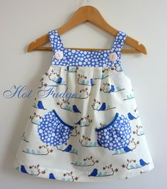 Jumper dress - blue birds with contrasting straps and pockets. [AC]