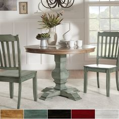 Eleanor Two-tone Round Solid Wood Top Dining Table by TRIBECCA HOME | Overstock.com Shopping - The Best Deals on Dining Tables