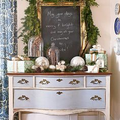 Creative Spots for Garland. Love the chalkboard/frame with Christmas message.