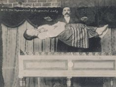 "Late 1800s photo of ""The Hypnotized & Suspended Lady"" and illusionist."
