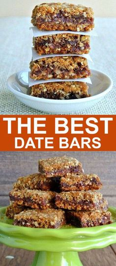 Best Date Bars Ever are two layers of a delectable oatmeal crust, filled with a sweet date mixture - baked to vanilla/almond scented treat.