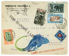 African Fish Lizard. Original Mail art by Nick Bantock.