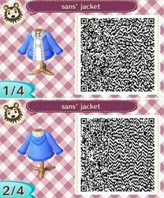 Sans from Undertale QR code for Animal Crossing New Leaf.