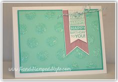 amazing birthday polka-dot card using dazzling details and large polka dot embossing folder http://www.handstampedstyle.com