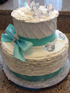 the cake box girls: Tiffany bridal shower cake  Tiffany Bridal Shower Cakes