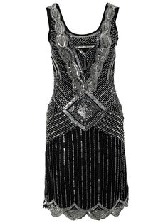 BLACK SEQUIN CHARLESTON FLAPPER uk 8 -16 GATSBY dress 20's ART DECO #frockandfrill #20s #Cocktail