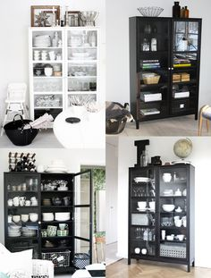 [all of the cabinets] Modern Scandinavian Interior, Scandinavian Living, Hacks Ikea, Mirrored Side Tables, Glass Cabinet Doors, Interior Decorating, Interior Design, Home Living Room, Decoration