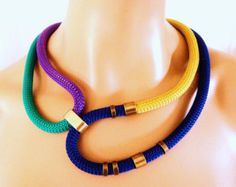 Please read shop policies about BULK DISCOUNTS: https://www.etsy.com/shop/vess65/policy?ref=shopinfo_policies_leftnav  This necklace is made of Braided Trim Rope Cord 10mm in Gold, Electric Blue, Emerald and Purple, leather cord and ccb flat ball in bronze and findings in Yellow Gold.  Length- 71-72cm/28-28,3 approx.  Different length available upon request.