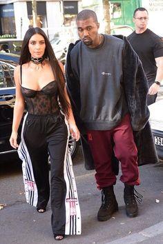 Kim Kardashian wearing Wolford Kaylee Tights and Adidas Originals Poppers Pants