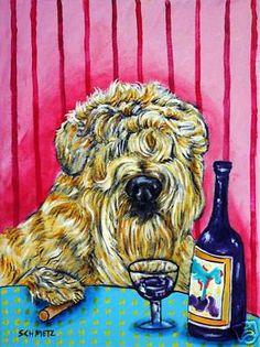 Soft Coated Wheaton Terrier wine dog Art print 8x10