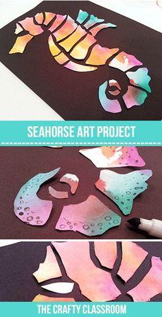 SeaHorse Art Project for Kids - Kunstunterricht School Art Projects, Projects For Kids, Summer Art Projects, Painting For Kids, Art For Kids, Art Children, Dot Painting, Young Children, Classe D'art