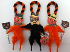 HALLOWEEN black cat JOLs Jack 'o Lantern vintage style CHENILLE ornaments | eBay