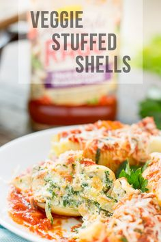 veggie stuffed shells are packed with hearty vegetables, creamy cheese ...