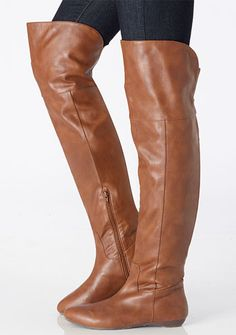 Comfortable Flat Heel Coppy Leather Knee High Boots with Bowtie ...