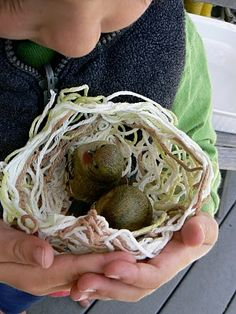 adorable step by step instruction on how to make a yarn birds nest using glue and yarn.
