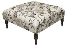 gorgeous tufted ottoman; it's ALL about the fabric (could DIY this, too!)