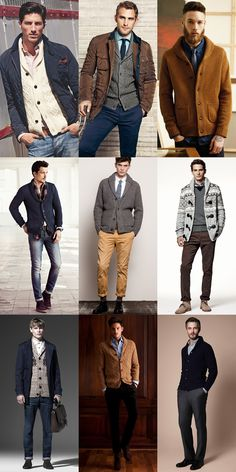 Men's Chunky Shawl Neck Cardigan Lookbook Outfit Inspiration