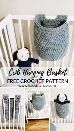This handy Crib Hanging Basket is a great addition to the nursery for everything from a favorite stuffie to your little one's PJ's. Hang it on the outside to store extra diapers or laundry. Designed with buttons instead of ties to keep your littl Crochet Home Decor, Crochet Crafts, Crochet Projects, Sewing Projects, Crochet Basket Pattern, Crochet Patterns, Crochet Baskets, Knit Basket, Basket Weaving