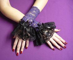 Goth Lolita Wrist Cuffs PURPLE by Estylissimo.deviantart.com on @deviantART