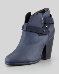 Harrow Leather Ankle Boot, Navy by Rag & Bone at Neiman Marcus.