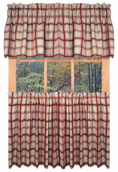 Country Logan Plaid Kitchen Curtains