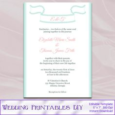 Mint Green Lace Ribbon Wedding Invitation by WeddingPrintablesDiy